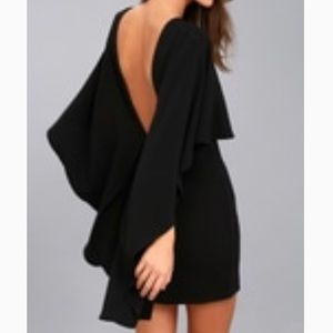 Backless front cape mini dress